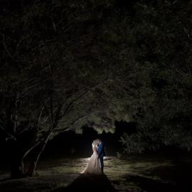 Night Shade by Lood Goosen (LWG Photo) - Wedding Bride & Groom ( bride, love, wedding dress, groom, couple, wedding photography, bride groom, weddings, night, wedding day, kiss, bride and groom, wedding, night photography )