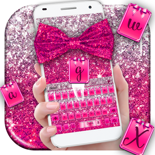 Pink Glitter Bow Keyboard Theme