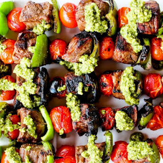 Pesto Steak Kabobs with Blistered Tomatoes & Peppers.