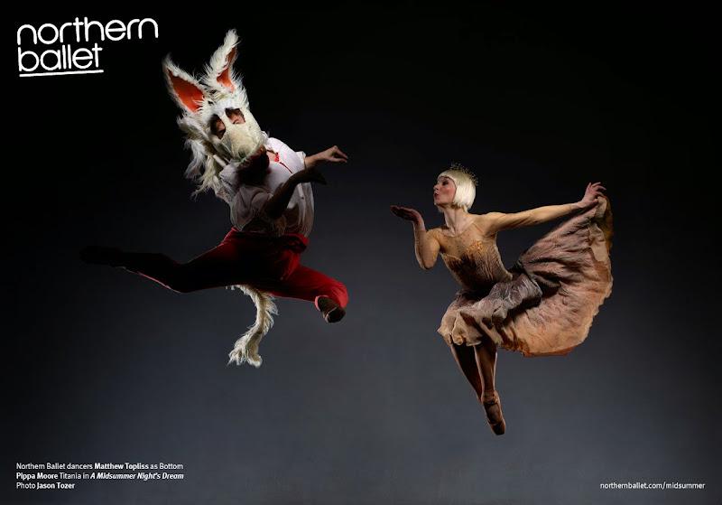 Photo: Northern Ballet dancers Matthew Topliss as Bottom and Pippa Moore as Titania in David Nixon's A Midsummer Night's Dream. Photo Jason Tozer.
