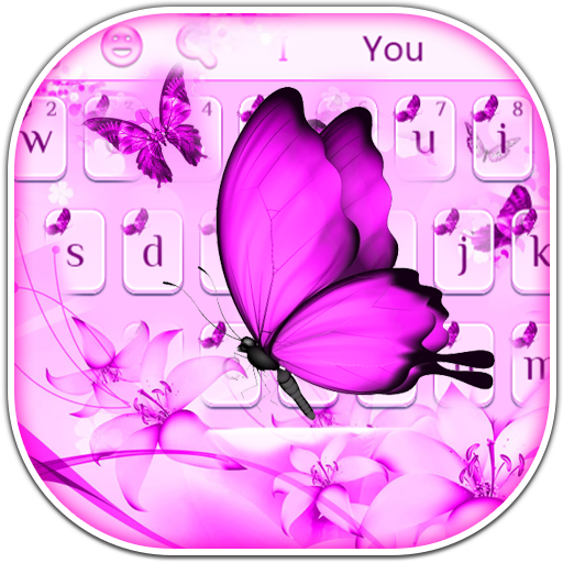 Purple Butterfly Keyboard