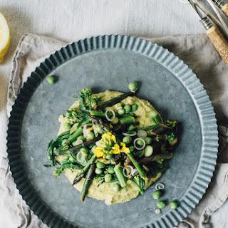 Asparagus, Pea + Broccoli Rabe Sauté Over A Chickpea + Chive Mash (gf + V)
