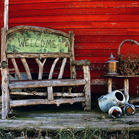 Little Bit Country ! by Jan Siemucha - Artistic Objects Still Life ( building, red, bench, barn, metal can, container, writing, objects )