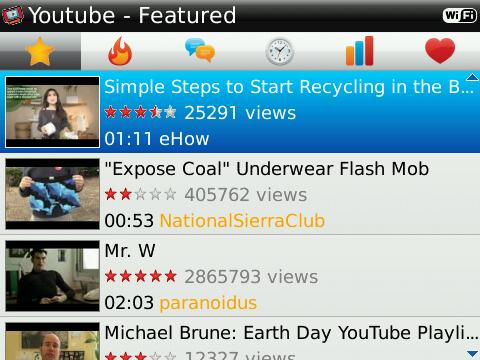 Player For YouTube ดูยูปทูป คลิวีดีโอ ผ่าน แบล็กเบอร์รี่