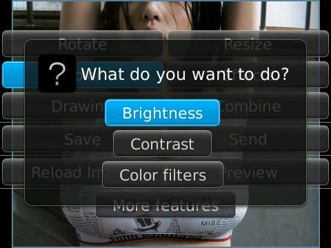 การปรับแสง ความเข้มของภาพบน แบล็กเบอร์รี่ด้วย Photo_Editor_Ultimate_FREE