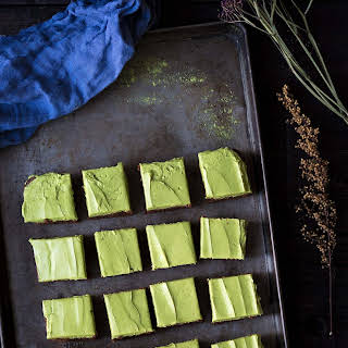 Bittersweet Brownies with Matcha Frosting.