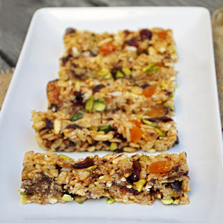 Crispy Rice Bars with Pistachios & Honey