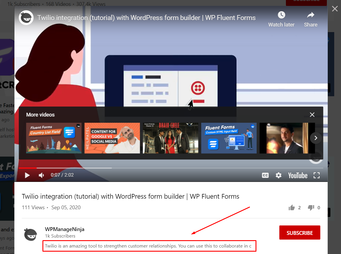 description of youtube settings