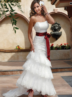 White Wedding Gown, Red Sash