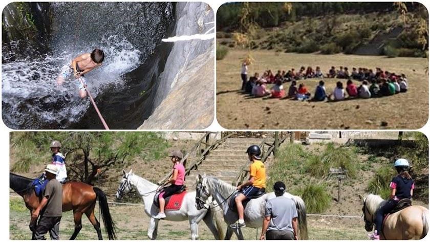 Actividades en el Campamento de Verano de Aula Naturaleza Paredes en Abrucena, Almeria.