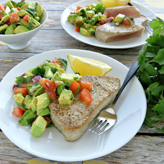 Pan Seared Ahi Tuna Steaks with Avocado Salsa.