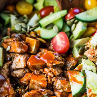 Grilled Buffalo Chicken Salad with Avocado Ranch.