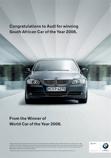 BMW advertisement - Congratulation to Audi For South African Car of the Year 2006 - From the Winner of World Car of the Year 2006.