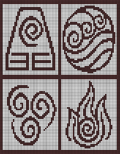 a jpg knitting chart of bending emblems