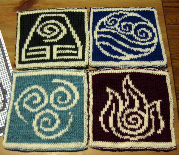 four completed knit hot pads, each with a bending emblem, reverse side