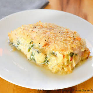 Sun-dried Tomato Spinach Artichoke Stuffed Baked Chicken.