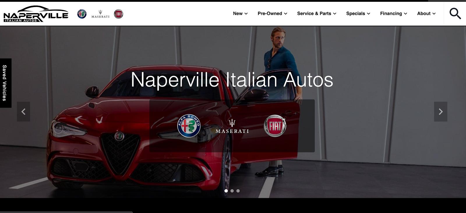 Screenshot of Naperville Italian Autos homepage
