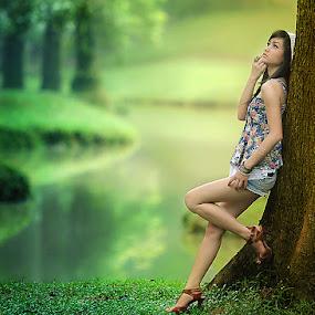Are You Missing Me Too ? by David Hendrawan - People Portraits of Women ( indonesian, model, taman langsat, indonesia, outdoor, karina khay, jakarta, bokeh, portrait, asian )