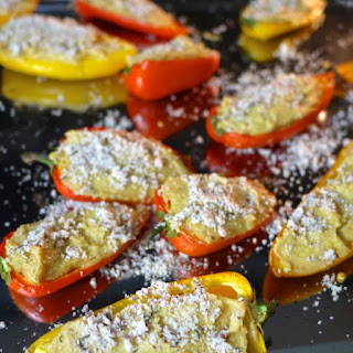 """Cheesy"" Stuffed Mini Bell Peppers (Dairy-Free)."