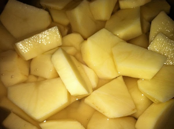 Peeled, cut potoatoes.