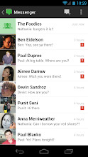 Photo: The new Messenger list view with much bigger photos and a cleaner design.