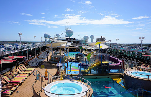 The pool deck of Majesty of the Seas during a voyage to the Bahamas.