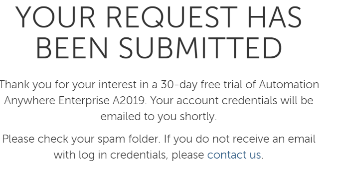 30 day free trial form message after submission