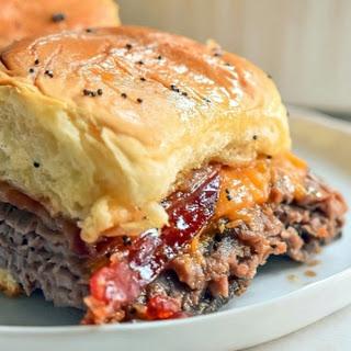 Bourbon Bacon Roast Beef Sliders.