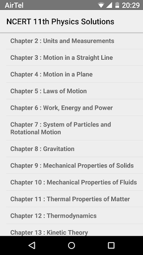 Physics XI Solutions for NCERT