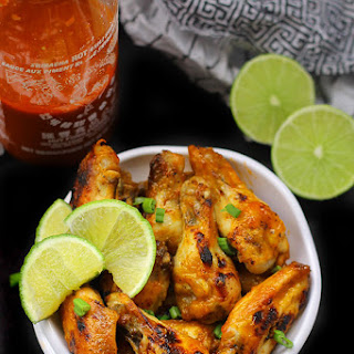 Baked Sriracha Lime Chicken Wings.