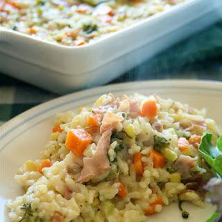 Veggie, Ham & Cheese Rice Bake