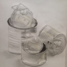 Recycle your tins by Shelina Khimji - Drawing All Drawing ( pencil, sketch, cans, recycle, relfection, texture, shadow, tins, drawing,  )