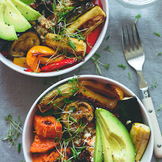 Brown Rice & Roasted Veggie Bowl with Tamari Dressing