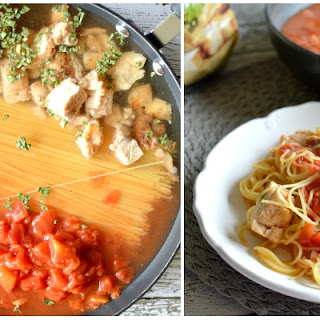 Grilled Chicken One Pan Spaghetti