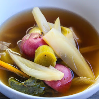 Poached Vegetables in Smokey Ginger Lemongrass Broth.