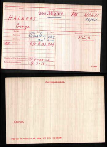 George Halbert's Medal Index Card