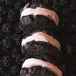 Blackberry Ice Cream Sandwiches with Dark Chocolate Chunk Cookies
