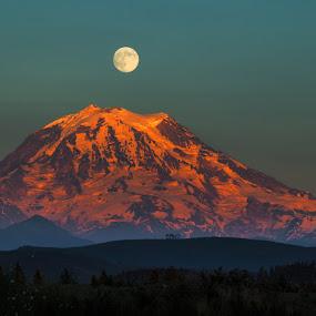 by Brent Morris - Landscapes Mountains & Hills ( moon, mountains, sunset, mount rainier, , blue, orange. color )