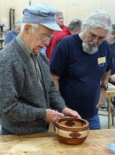 "Photo: (guest) John Creeder - ""western"" segmented bowl - walnut, maple, bloodwood, ?mahogany"
