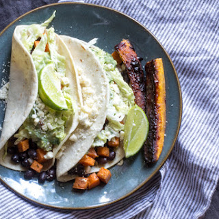 Cuban Sweet Potato & Black Bean Tacos with Candied Plantains | #ProgressiveEats