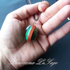 wisior z masy polimerowej fimo naszyjnik biżuteria  polymer clay Panorama LeSage oko
