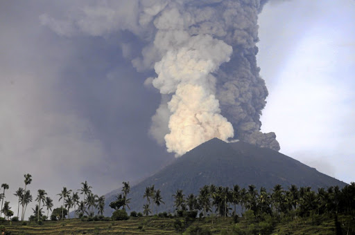 A view of Mount Agung volcano erupting from Culik village in Karangasem, Bali, Indonesia, on November 27 2017. Picture: REUTERS