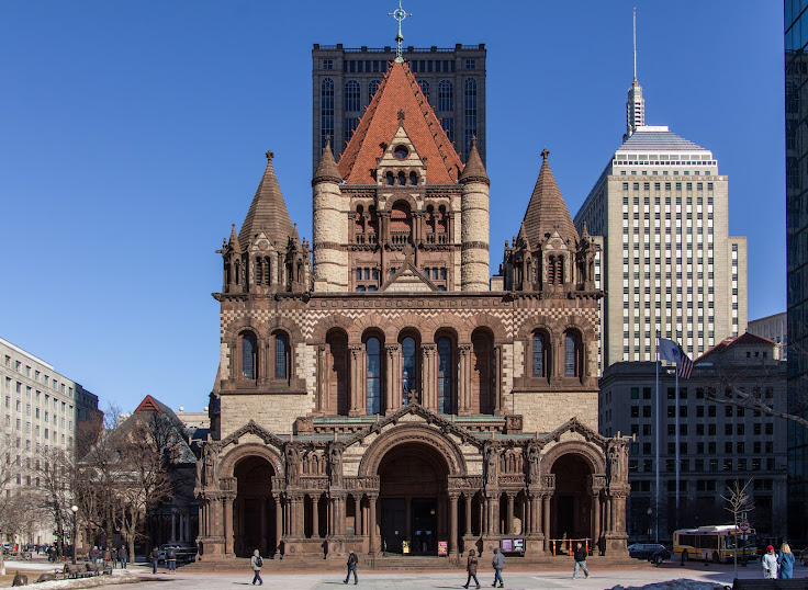 The Richardsonian Romanesque architecture of Trinity Church. Photo: Boston College University Libraries.