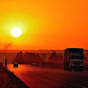 Escape by Dave Ross - Transportation Other ( van, dawn, red, truck, joburg, sunrise, delivery, africa, lorry )