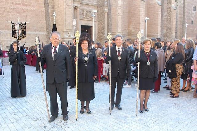 La presidenta de la Agrupación de Cofradías, Encarni Molina, en la Cofradía del Santo Sepulcro.