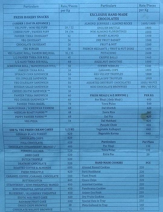 Vijay Stores menu 1
