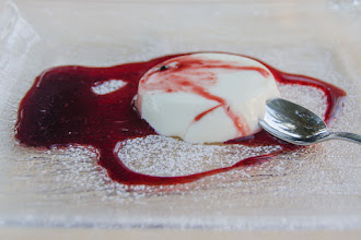 Photo: Panna cotta with raspberry sauce for dessert.  It was really, really good.