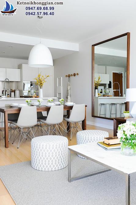 thiết kế nội thất phòng khách chất lượng thi công cao