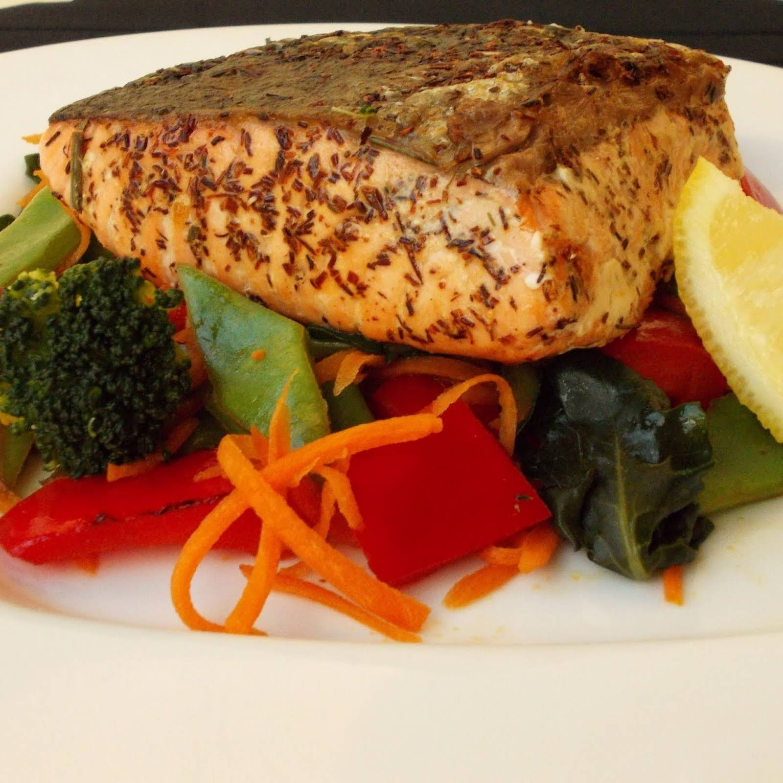 Salmon  afterward Rooibos Tea And Sauteed Vegetables