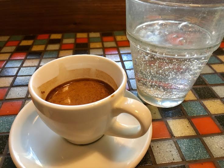 Espresso and club soda at Voxx.